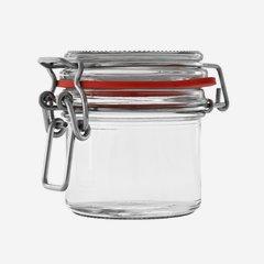 Drahtbügelglas 135 ml, Weißglas, rund