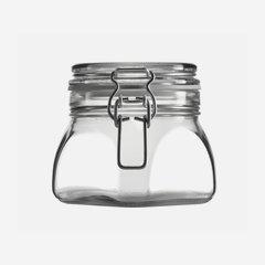 Drahtbügelglas 550 ml, Weißglas, Vierkant