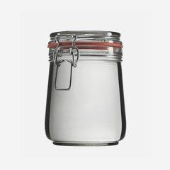 Drahtbügelglas 800ml, Weißglas, rund