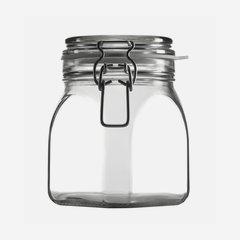 Drahtbügelglas 900 ml, Weißglas, Vierkant