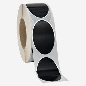Etikette 60x90mm, schwarz+ HP Silber, oval