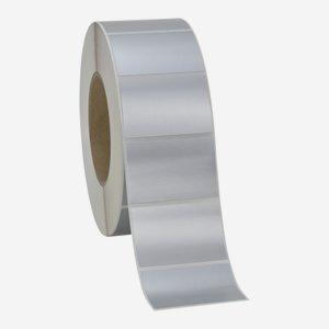 Etikette 40x60mm, silber matt, quer am Band