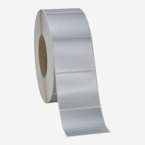 Etikette 60x70mm, silber matt, quer am Band
