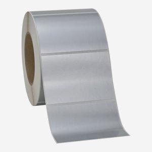 Etikette 70x99mm, silber matt, quer am Band