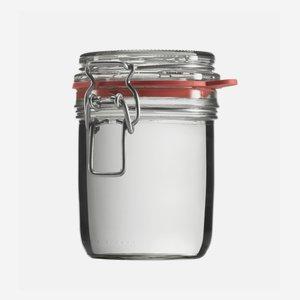 Drahtbügelglas 370ml, Weißglas, rund