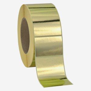 Etikette 40x60mm, gold glänzend, quer am Band