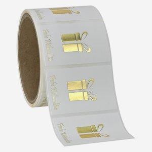 Etikette Geschenk + WGruß, 40x60mm, Relief+HP Gold