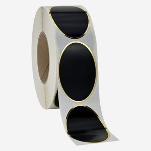 Etikette 60x90mm, schwarz+ HP Gold, oval