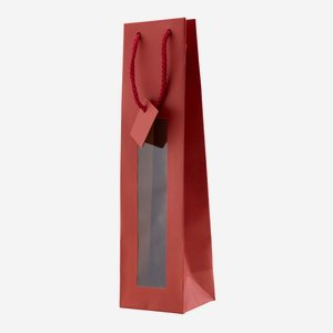 Flaschentragetasche, rot, mit Fenster
