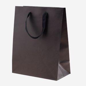 Geschenktragetasche mit Band, groß, Schwarz