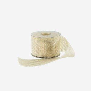 Geschenksband aus Jute, 60 mm, weiß