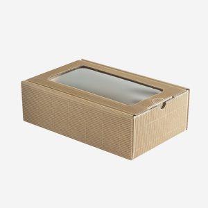 Geschenkkarton, braun, Fenster, H26 x B16 x T8