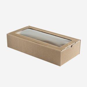 Geschenkkarton, braun, Fenster, H38 x B18 x T8,5