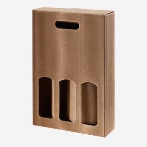 Geschenkkarton eCo-Außenwelle - 3 Flaschen, braun