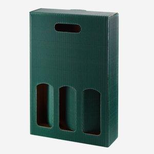 Geschenkkarton eCo-Außenwelle - 3 Flaschen, grün