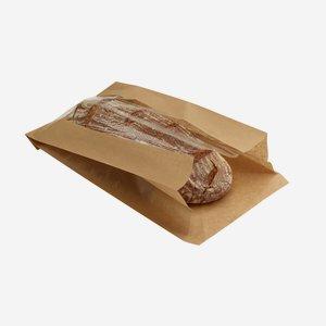 Seitenfaltensack 3kg, braun, Fenster, 230/110/405