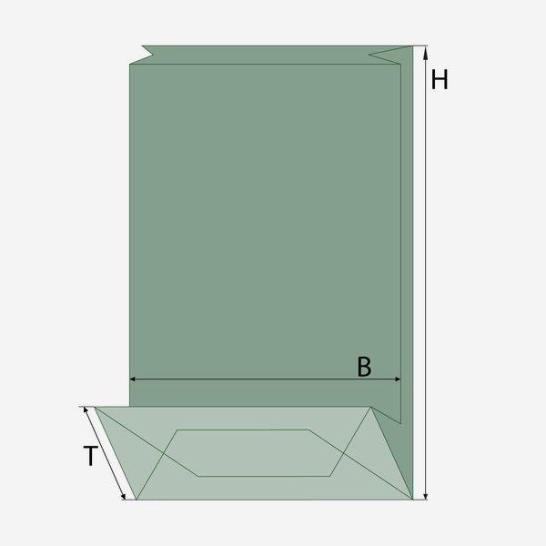 Blockbodenbeutel, braun, Fenster oval, klein