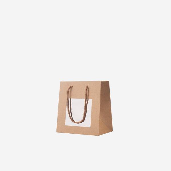 Geschenktragetasche, braun, Fenster, 160/80/150