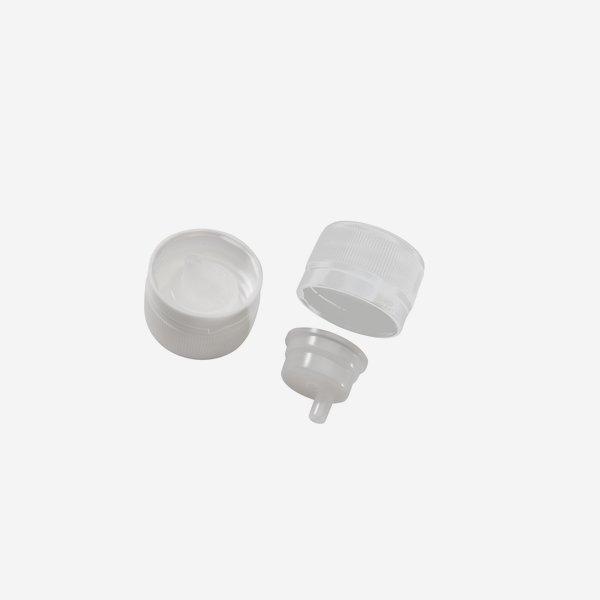 Verschluss+Tropfeinsatz, PP28mm, unmontiert, weiß